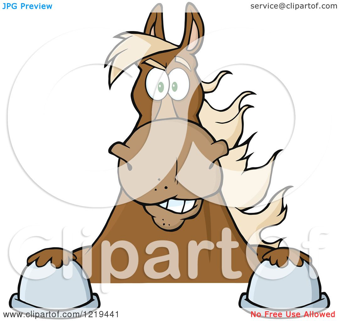 Clipart of a Brown Draft Horse over a Sign - Royalty Free Vector ...