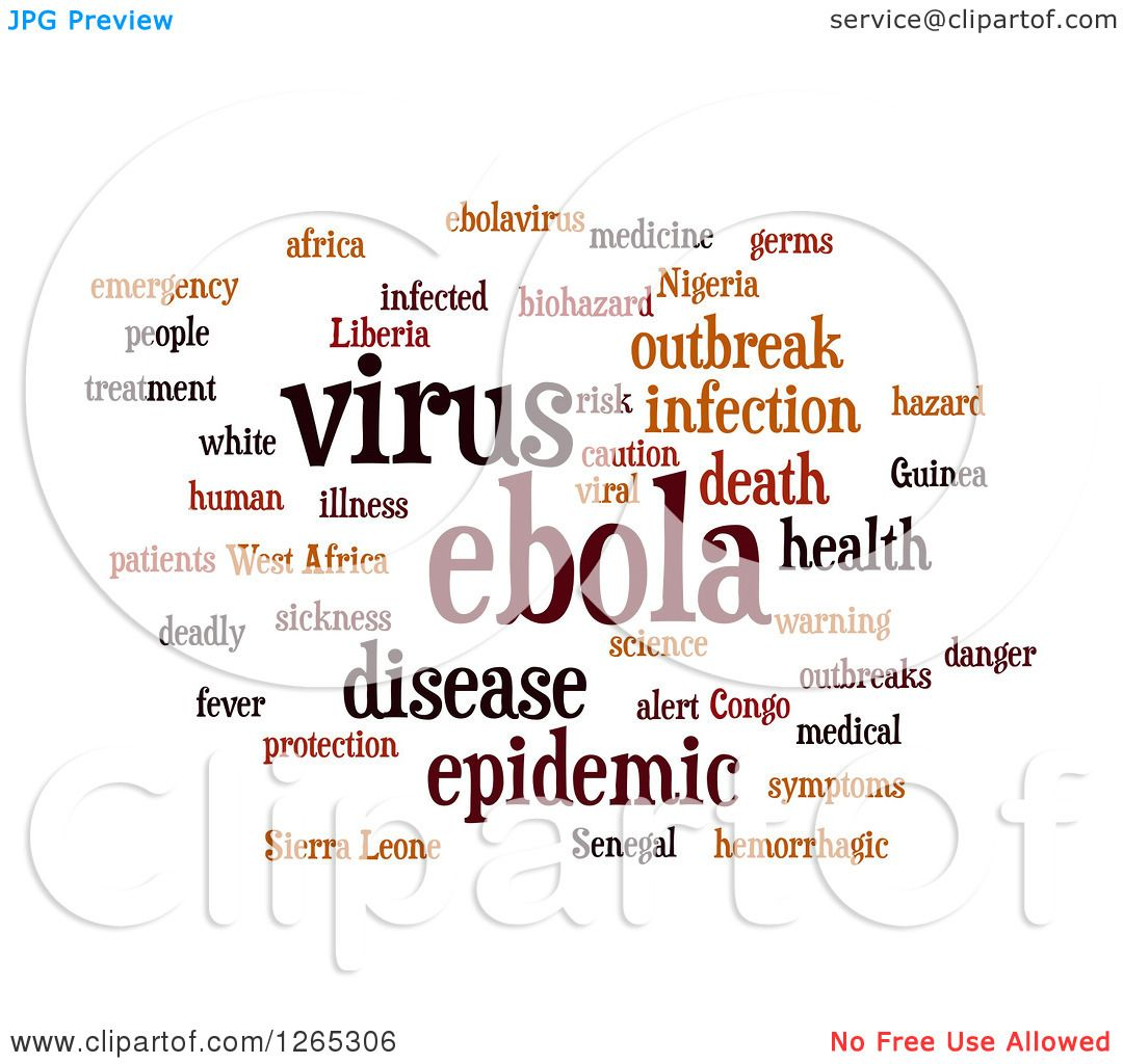 Viral Word: Clipart Of A Brown Ebola Virus Word Collage On White