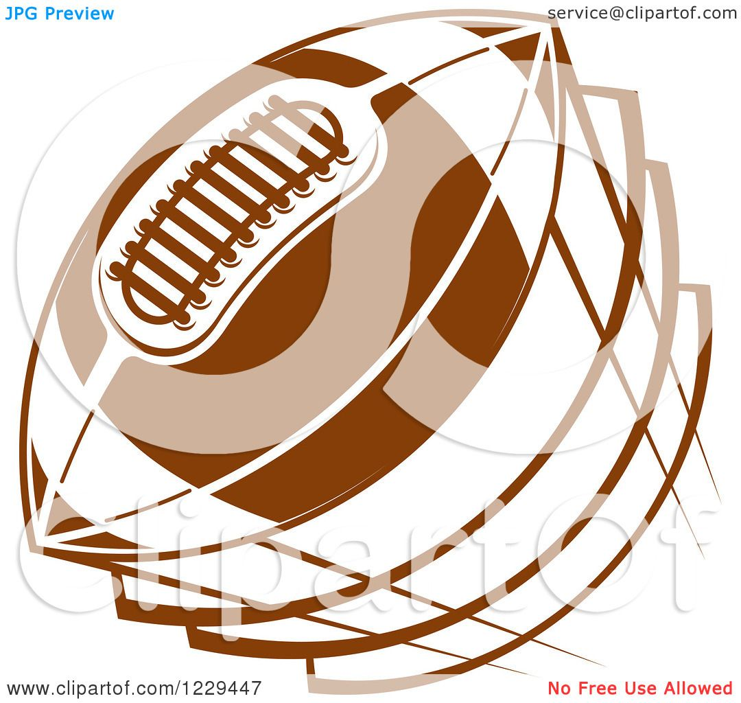 Clipart of a Brown Flying American Football - Royalty Free ...
