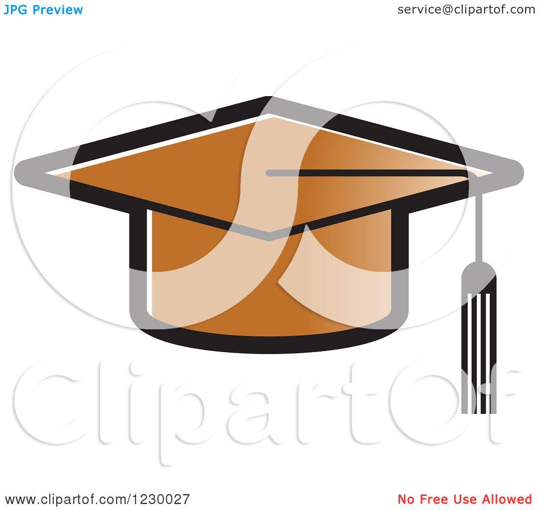 Clipart of a Brown Mortar Board Graduation Cap Icon - Royalty Free ...