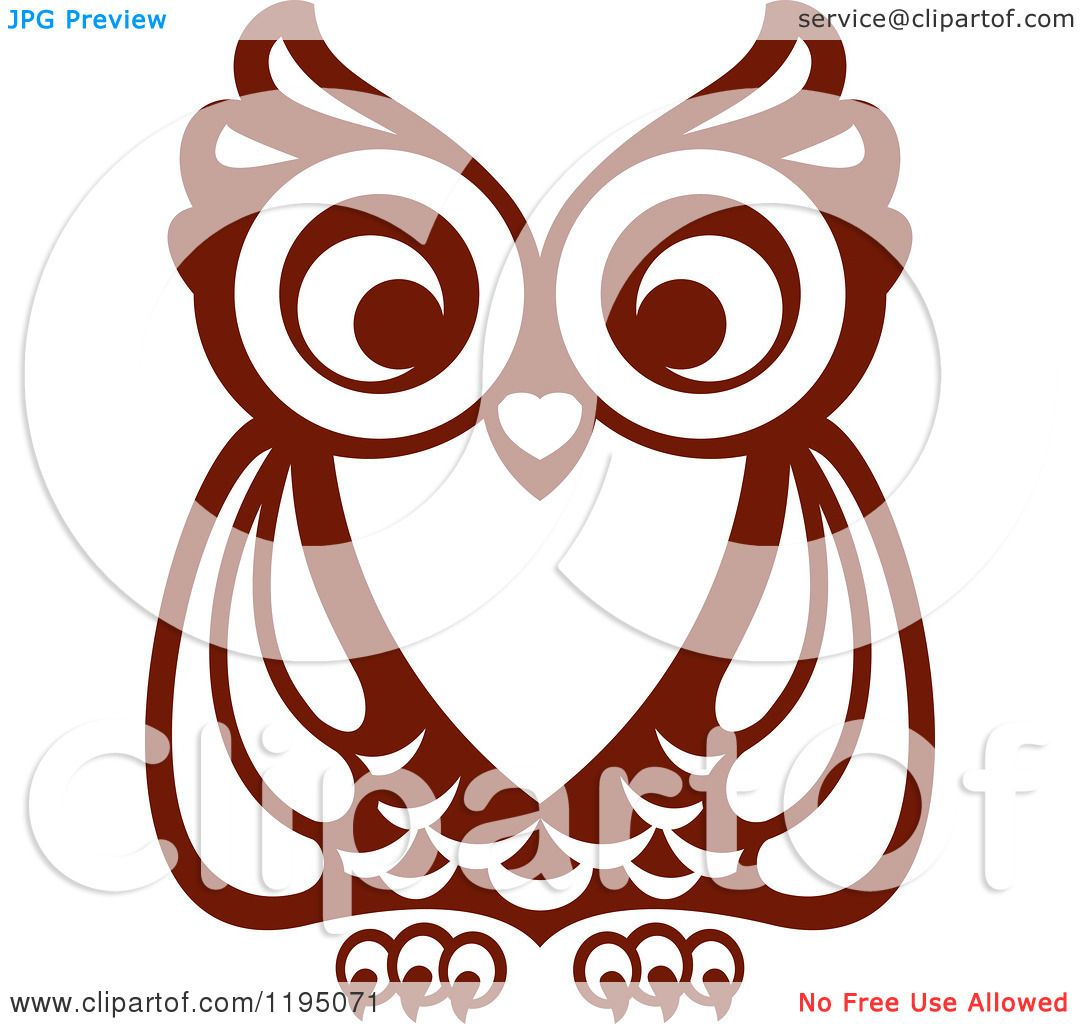 Clipart of a Brown Owl 7 - Royalty Free Vector ...