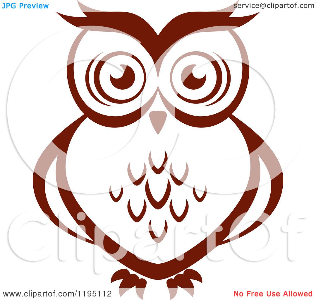 Clipart of a Brown Owl 9 - Royalty Free Vector ...