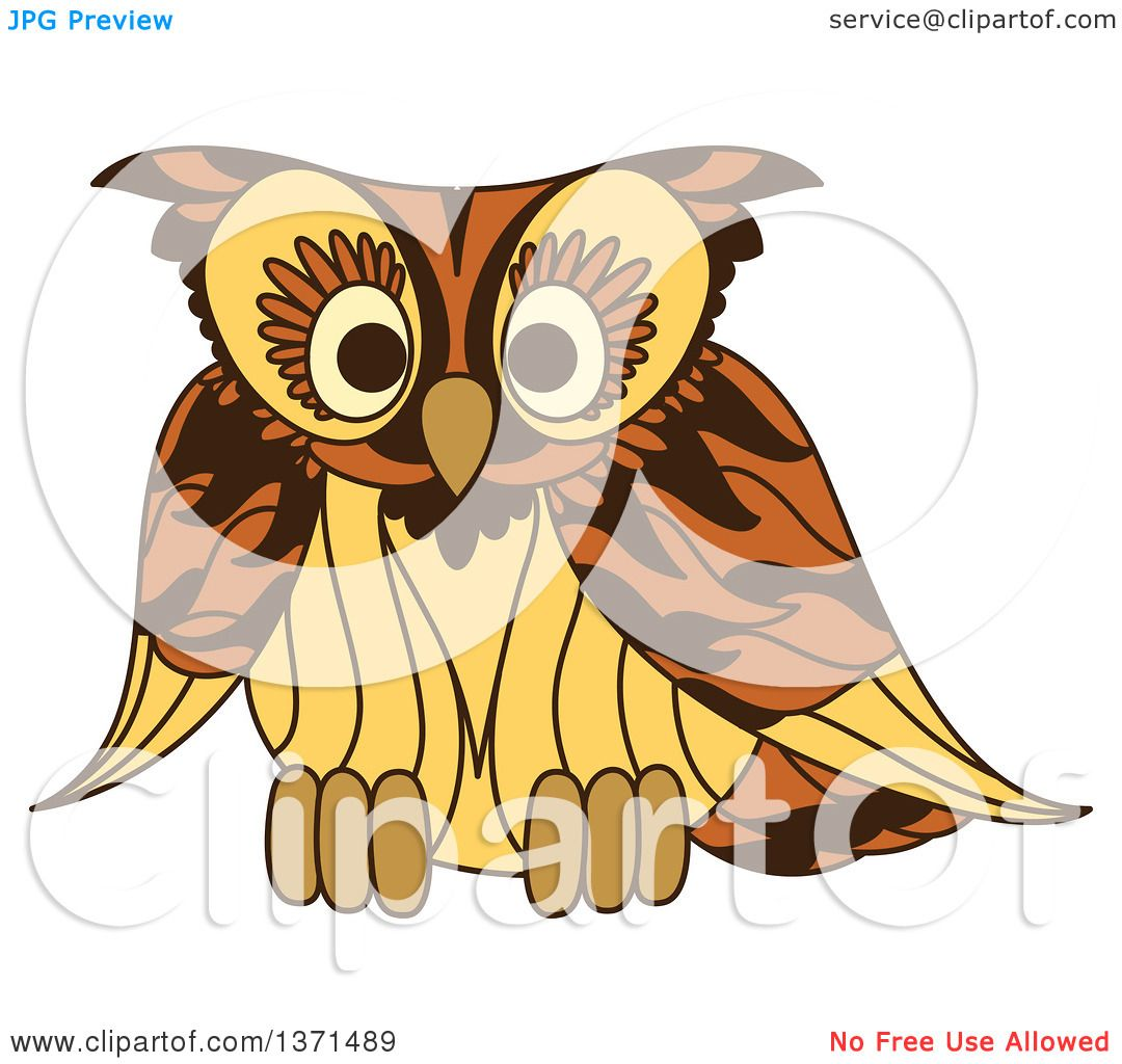 Clipart of a Brown Owl - Royalty Free Vector Illustration ...