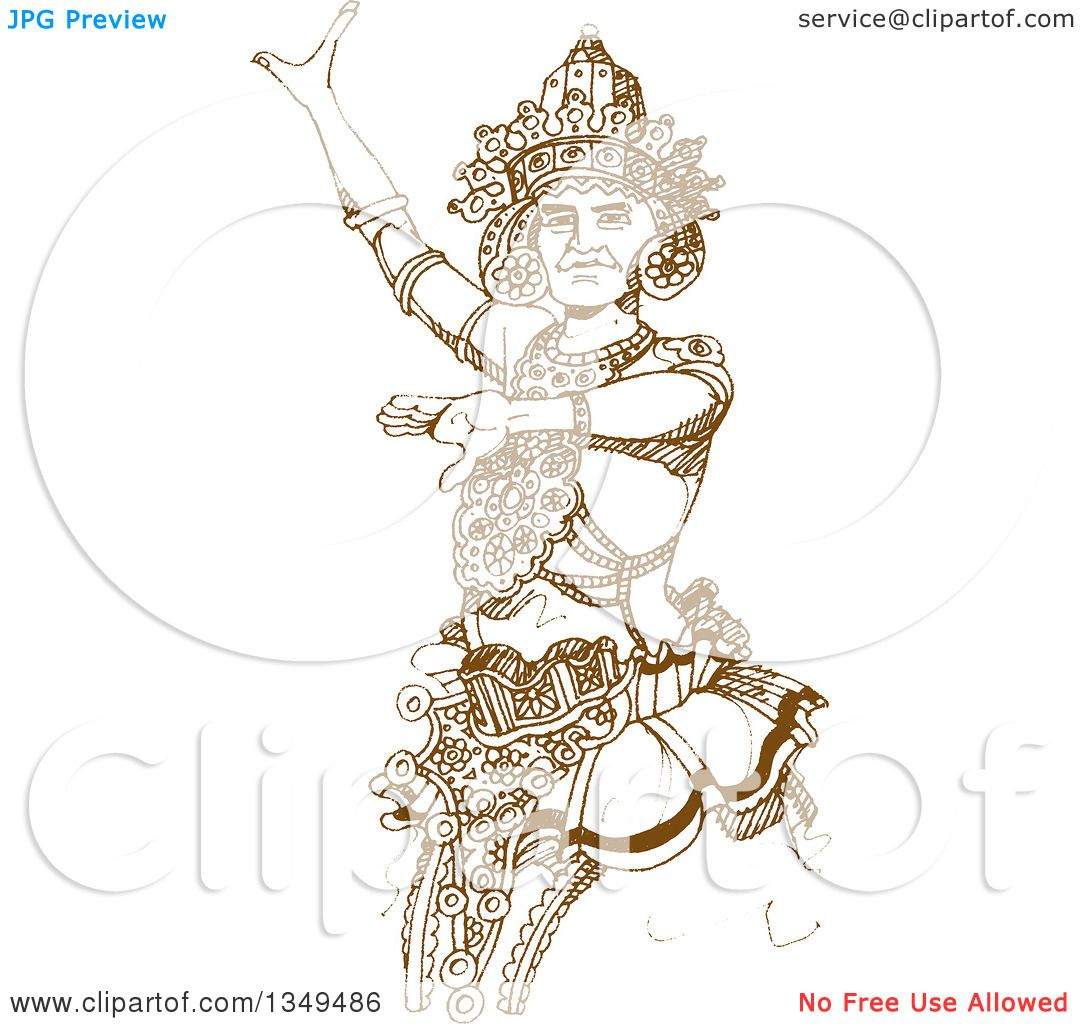 Clipart Of A Brown Sketched Hand Drawn Kandyan Dancer Royalty Free Vector Illustration By Lal Perera 1349486
