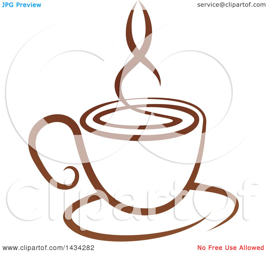 Clipart of a Brown Steamy Coffee Cup on a Saucer - Royalty ...