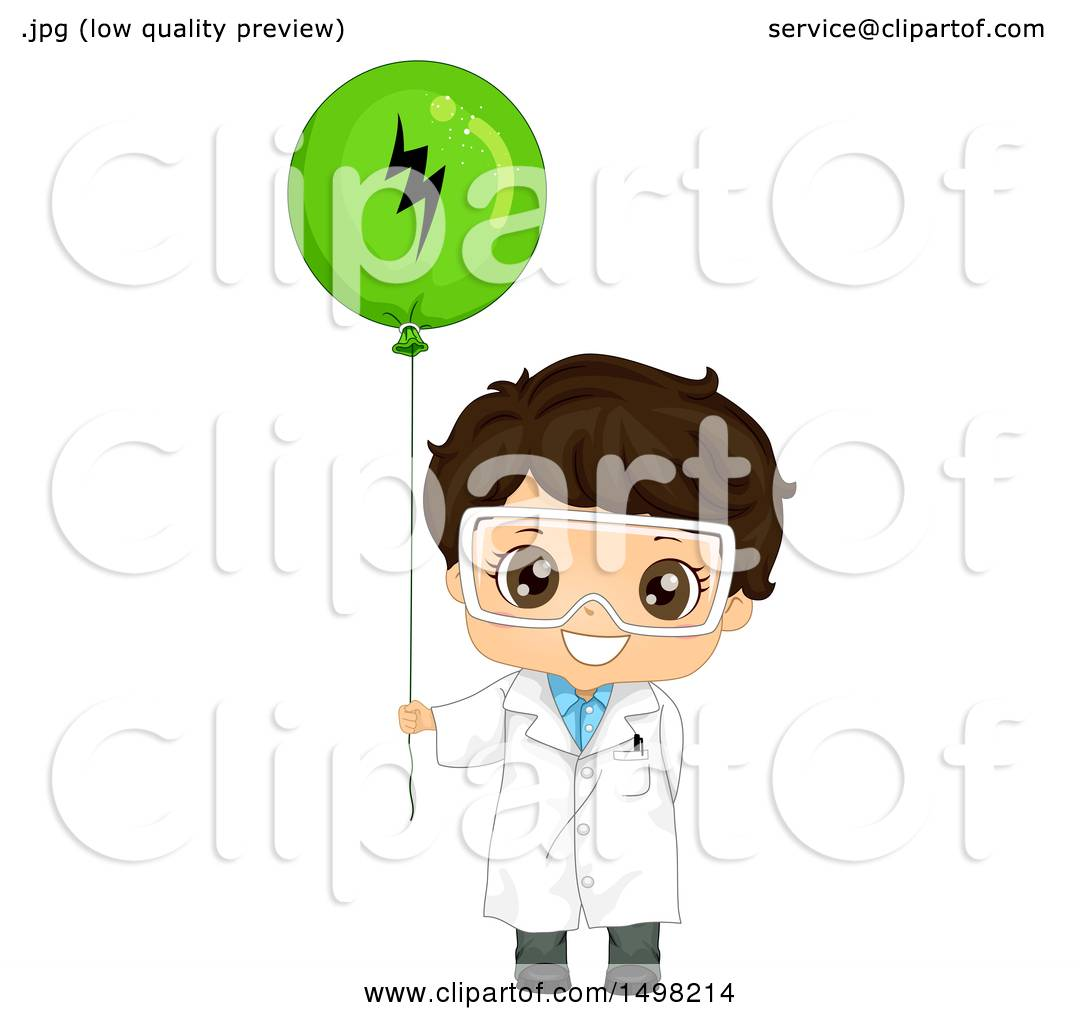 Clipart Of A Brunette Boy Wearing A Science Lab Coat And