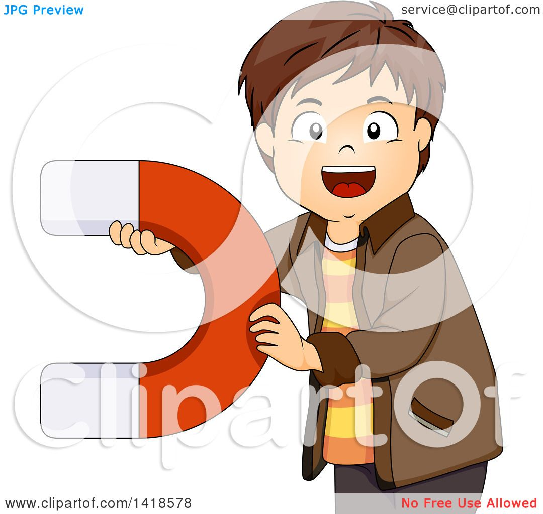 Clipart of a Brunette Caucasian Boy Holding a Large Magnet ...