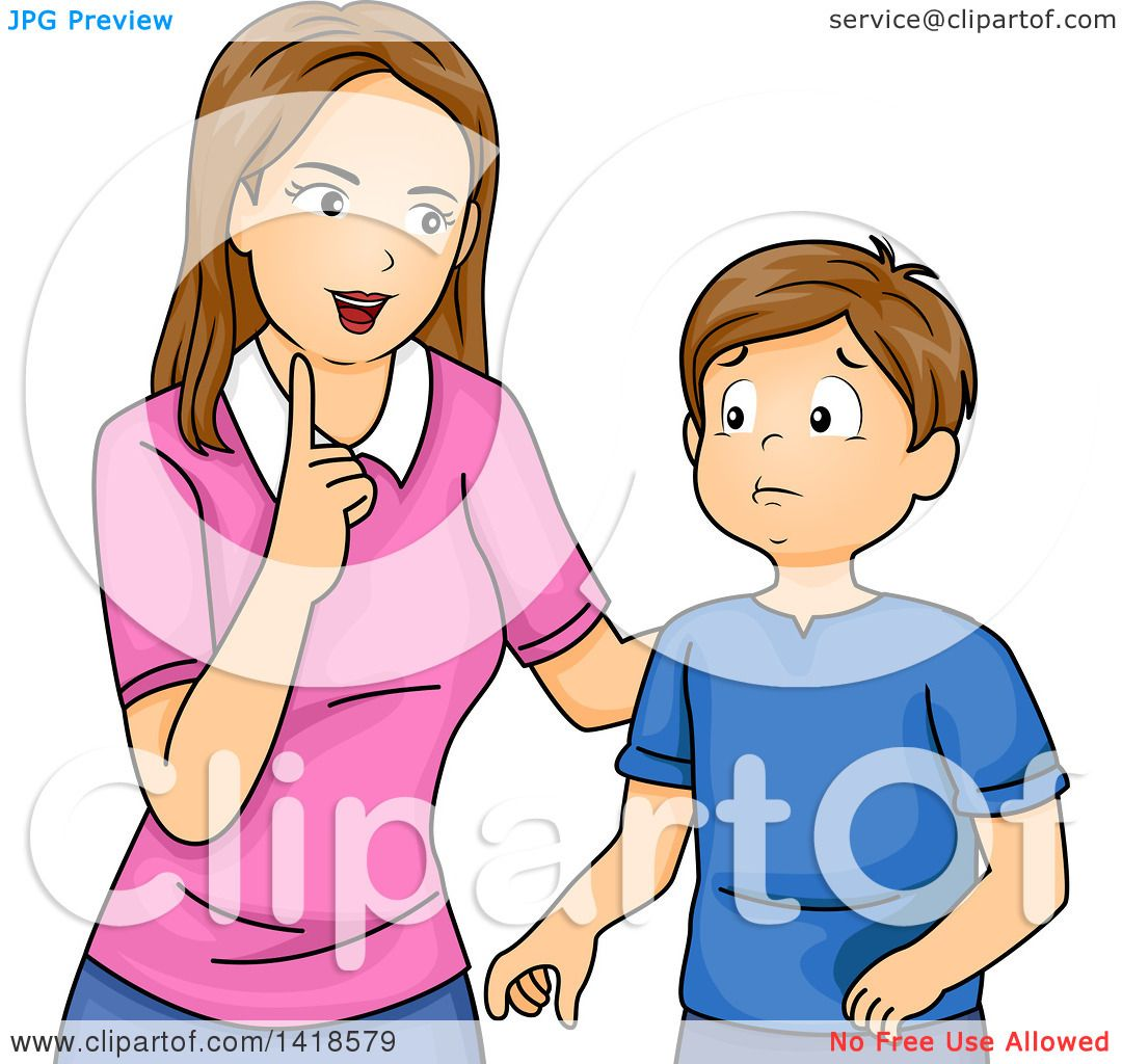 Clipart Of A Brunette Caucasian Mother Lecturing Her Son