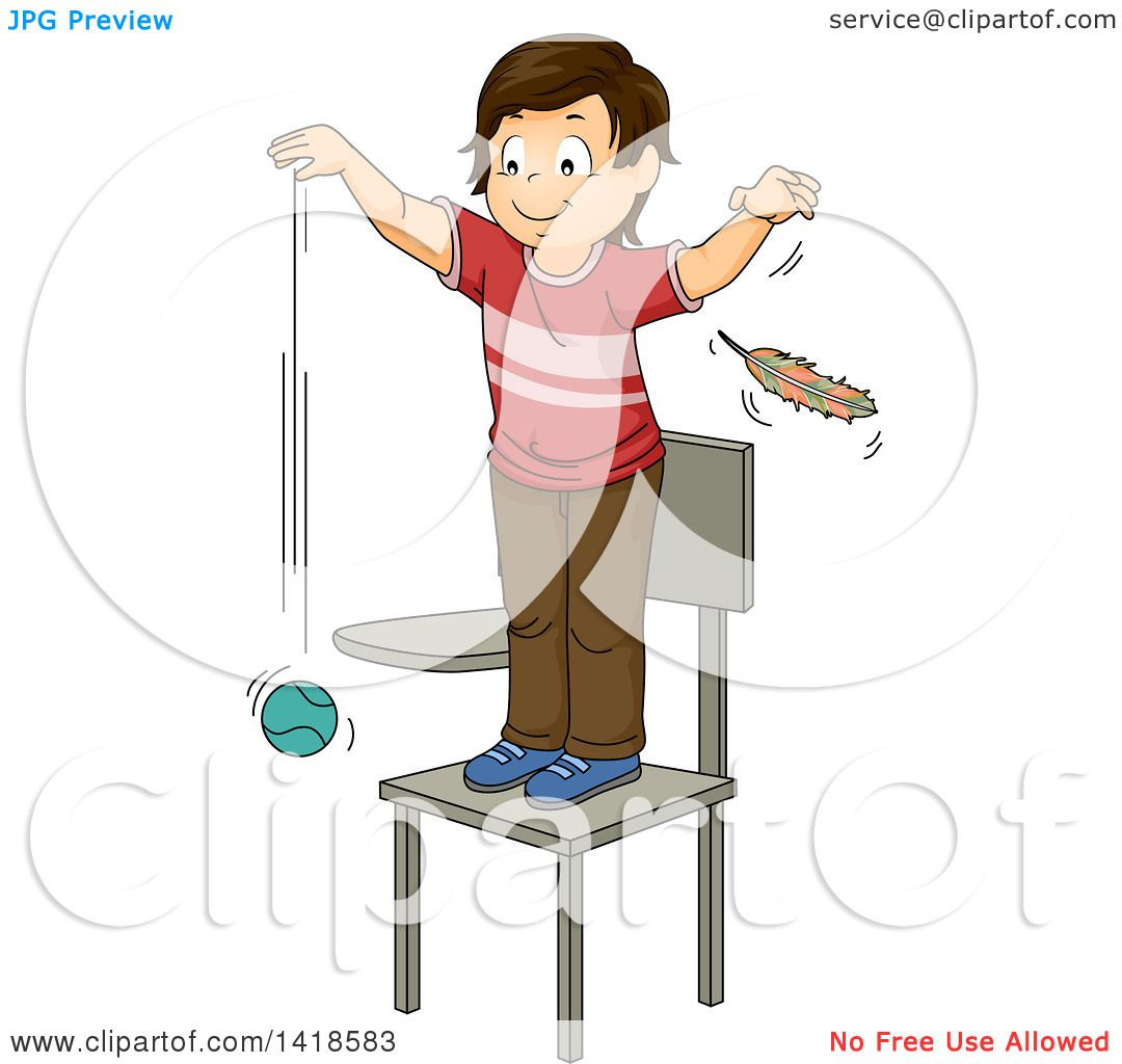 Clipart of a Brunette Caucasian School Boy Standing on a ...