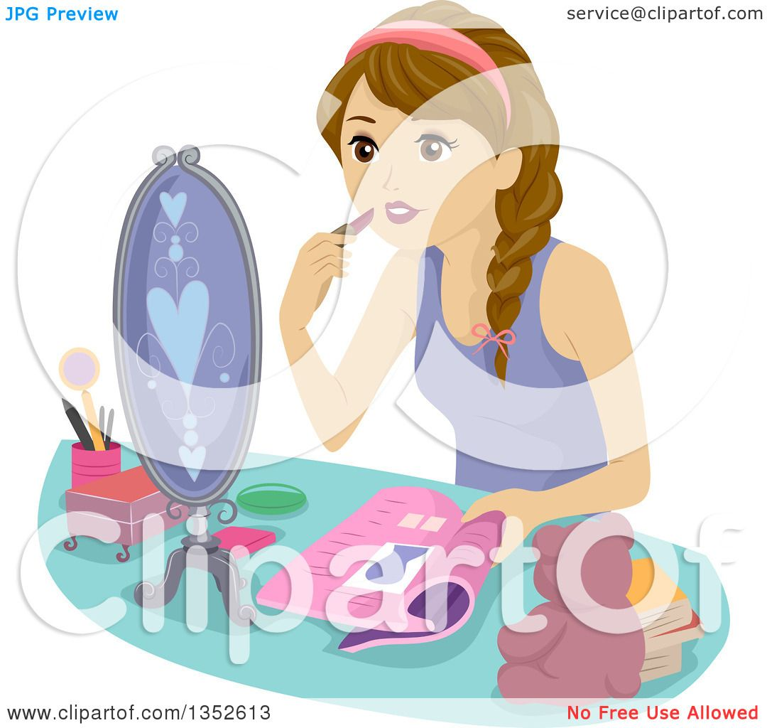 Clipart Of A Brunette Caucasian Teenage Girl Putting On -6582
