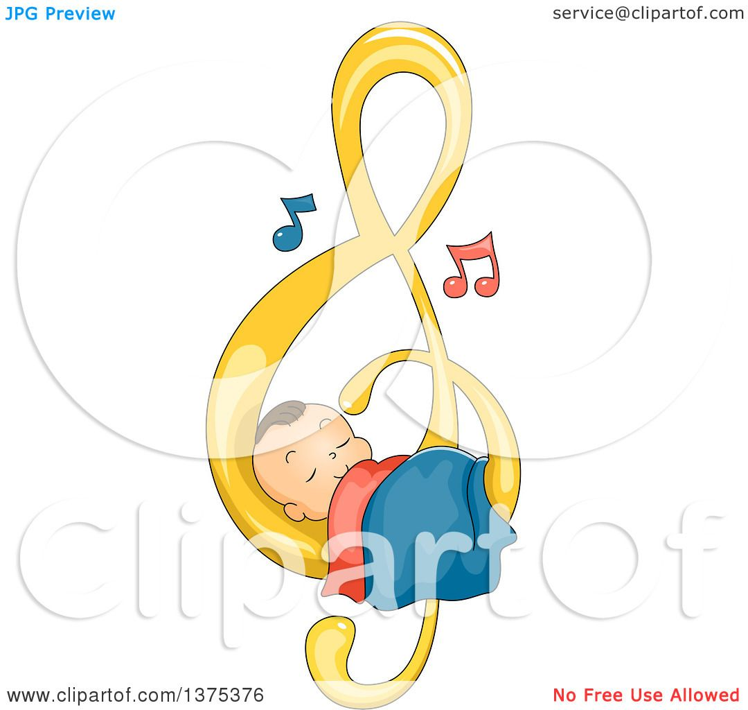 Clipart of a Brunette White Baby Boy Sleeping on a Music Note ...