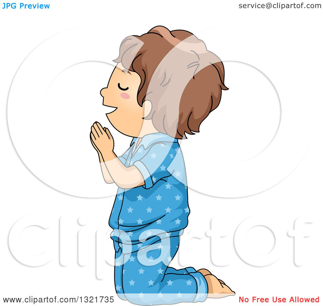 Clipart of a Brunette White Boy Kneeling and Praying in Pajamas ...