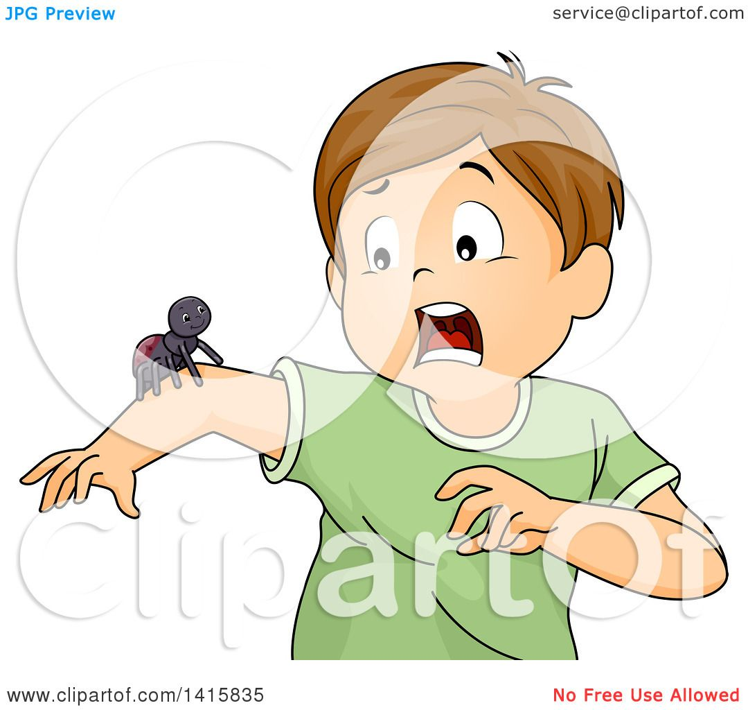 Clipart Of A Brunette White Boy Screaming About A Spider