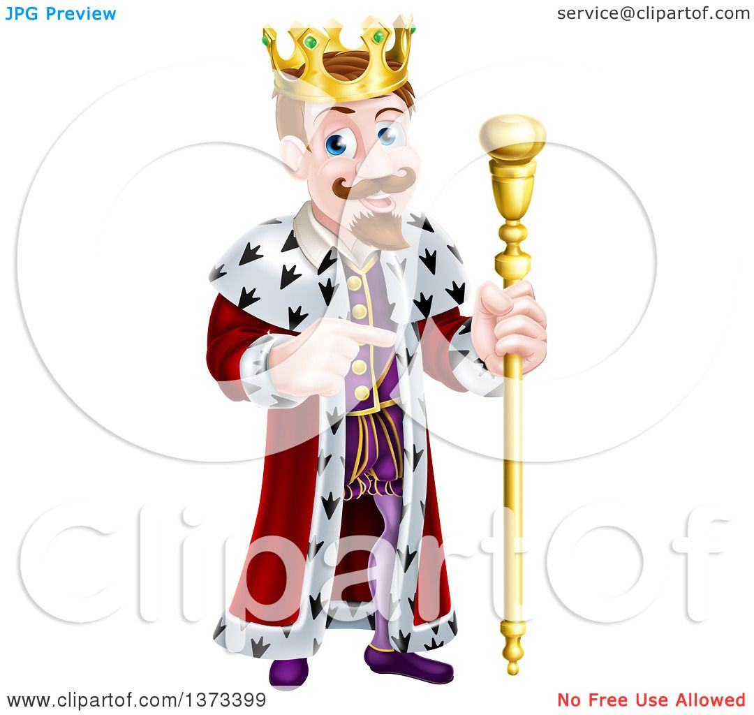Clipart of a Brunette White King Holding a Scepter and Pointing to ...