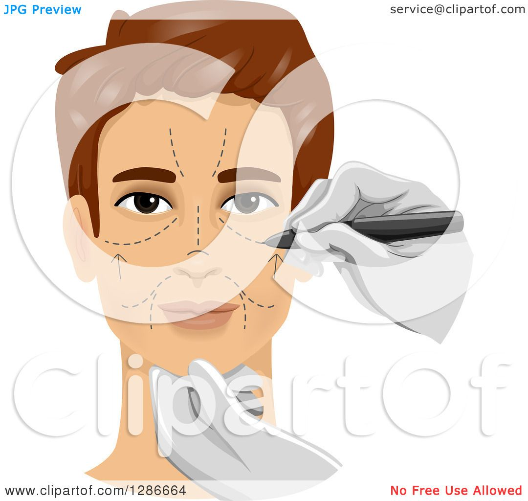 Clipart Of A Brunette White Man Getting Marks On His Face