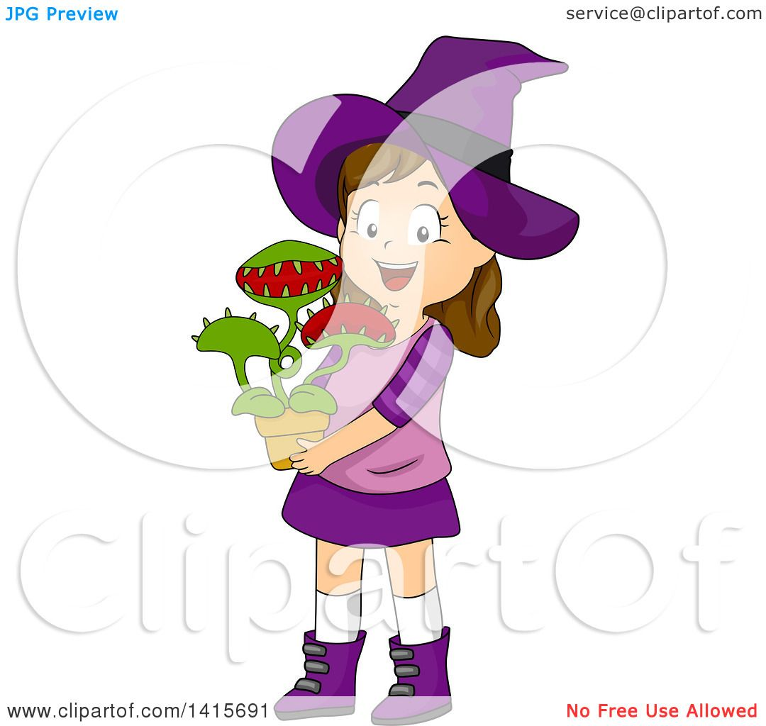 clipart of a brunette white witch holding a venus fly trap