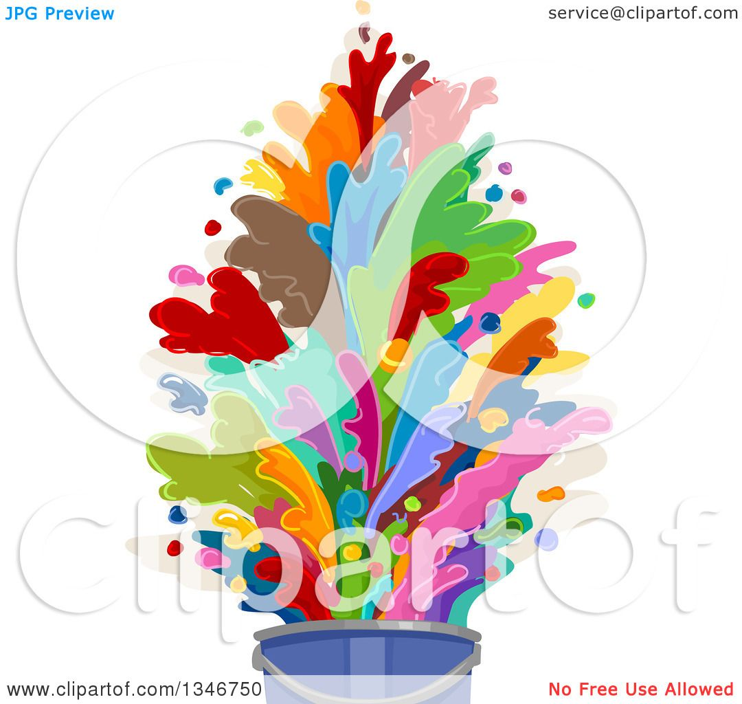 clipart of a bucket with colorful paint splashes royalty free vector
