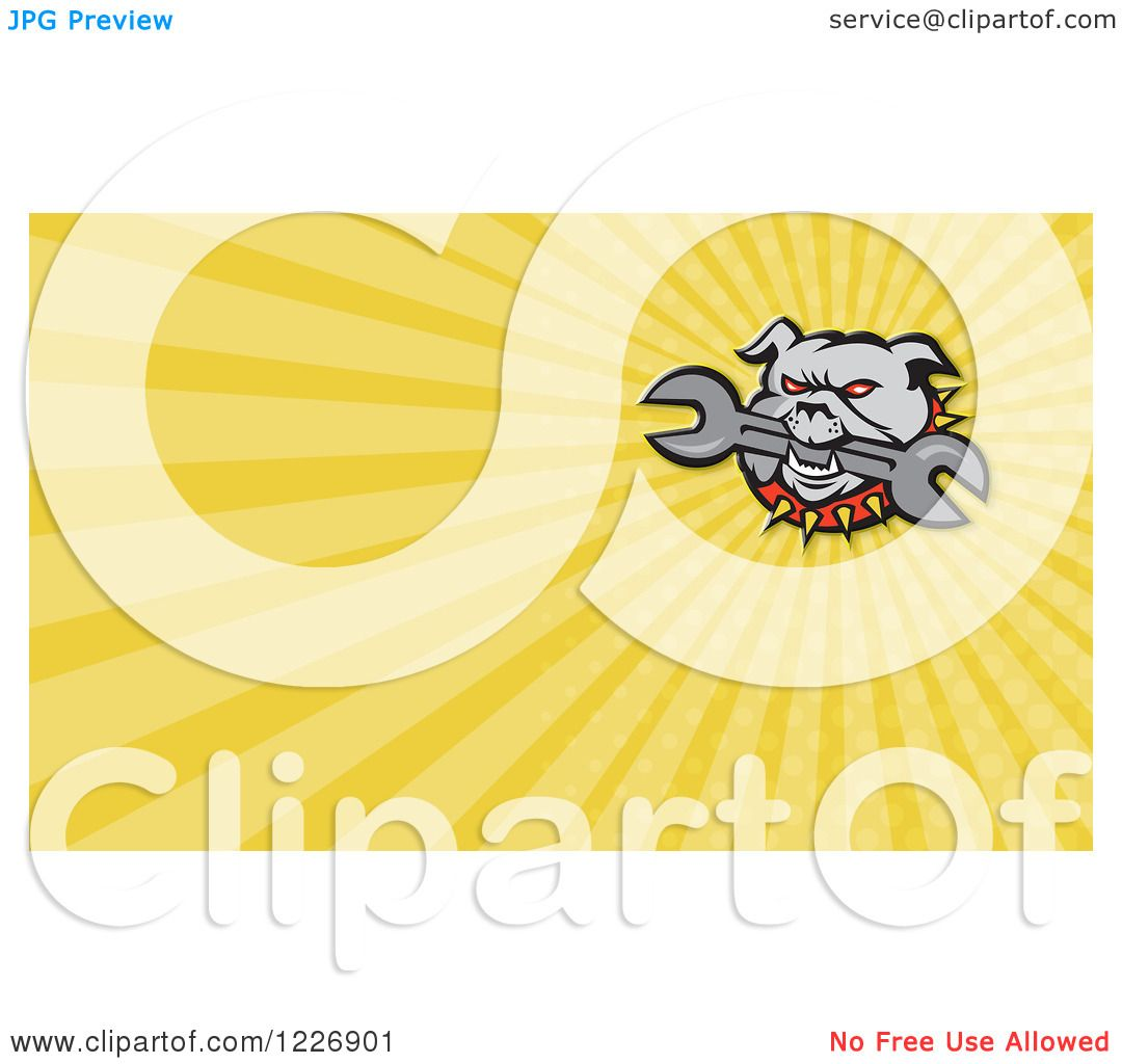 Clipart of a Bulldog Biting a Wrench and Yellow Rays Background or ...