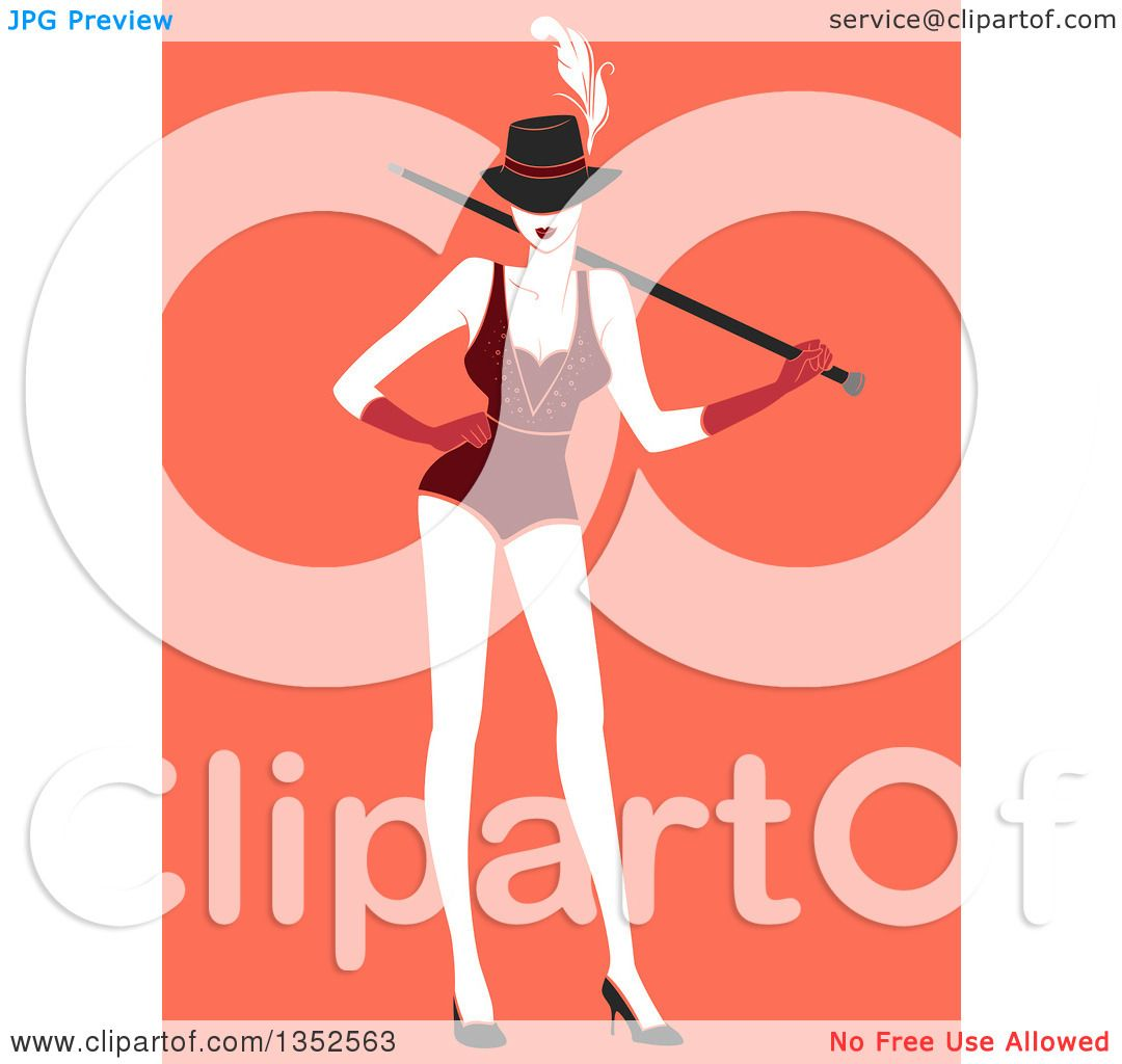 Clipart of a Burlesque Dancer Posing over Orange - Royalty Free ...