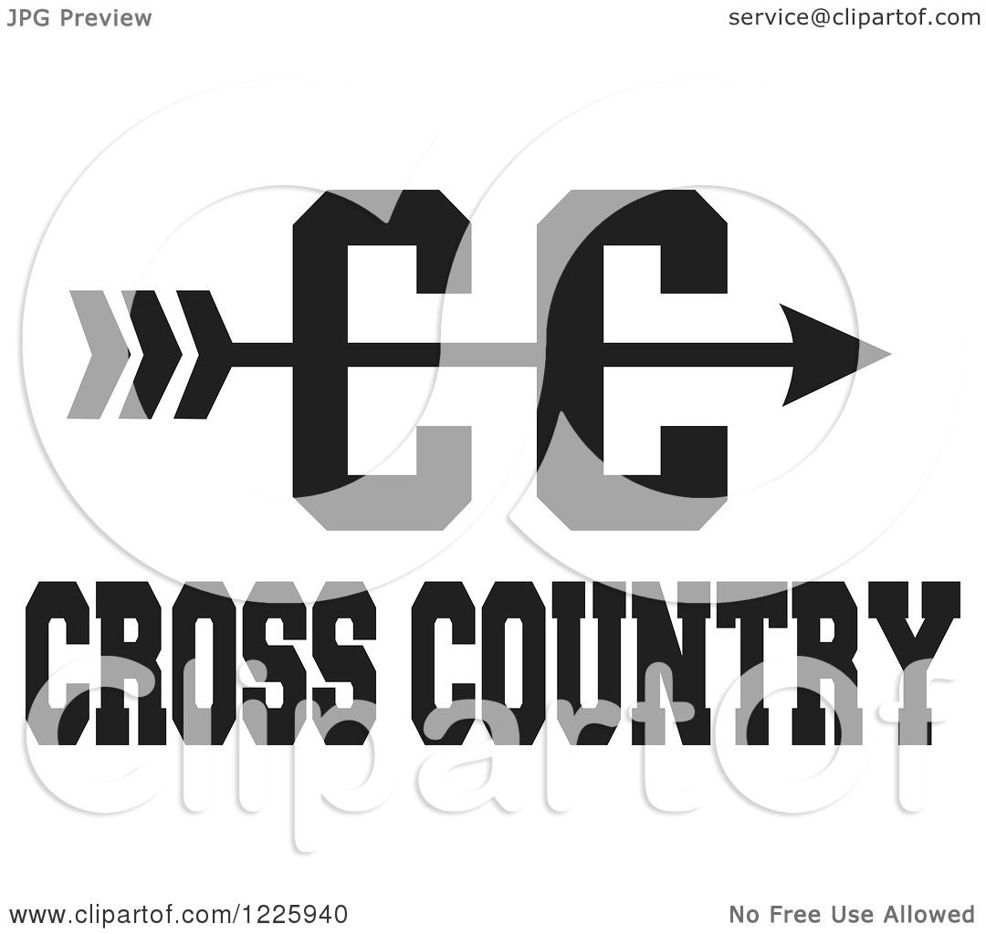 Clipart of a CC Arrow with Cross Country Running Text in ...