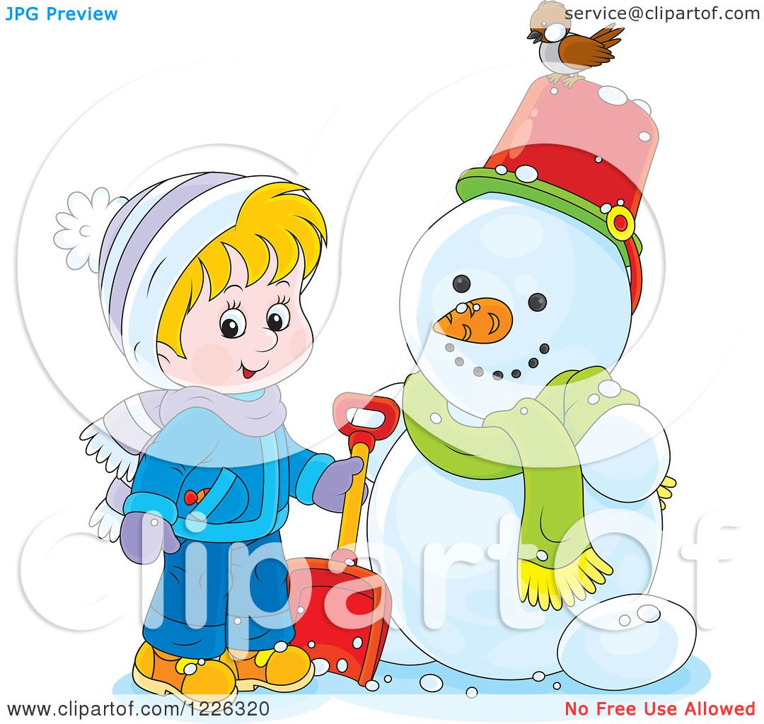 Clipart of a Cacasian Boy by a Snowman - Royalty Free Vector ...