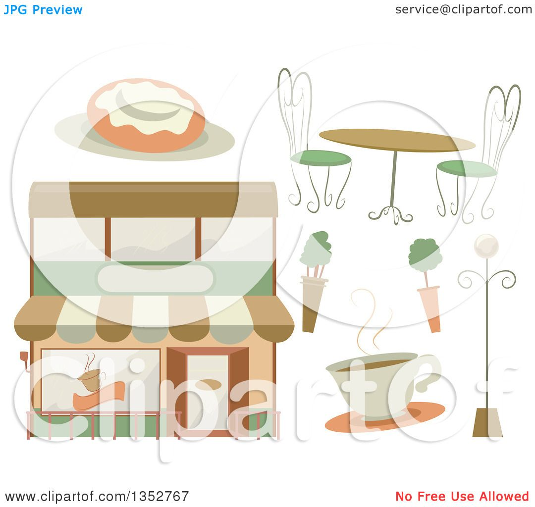 Clipart of a cafe building coffee shrubs table roll for Table design vector