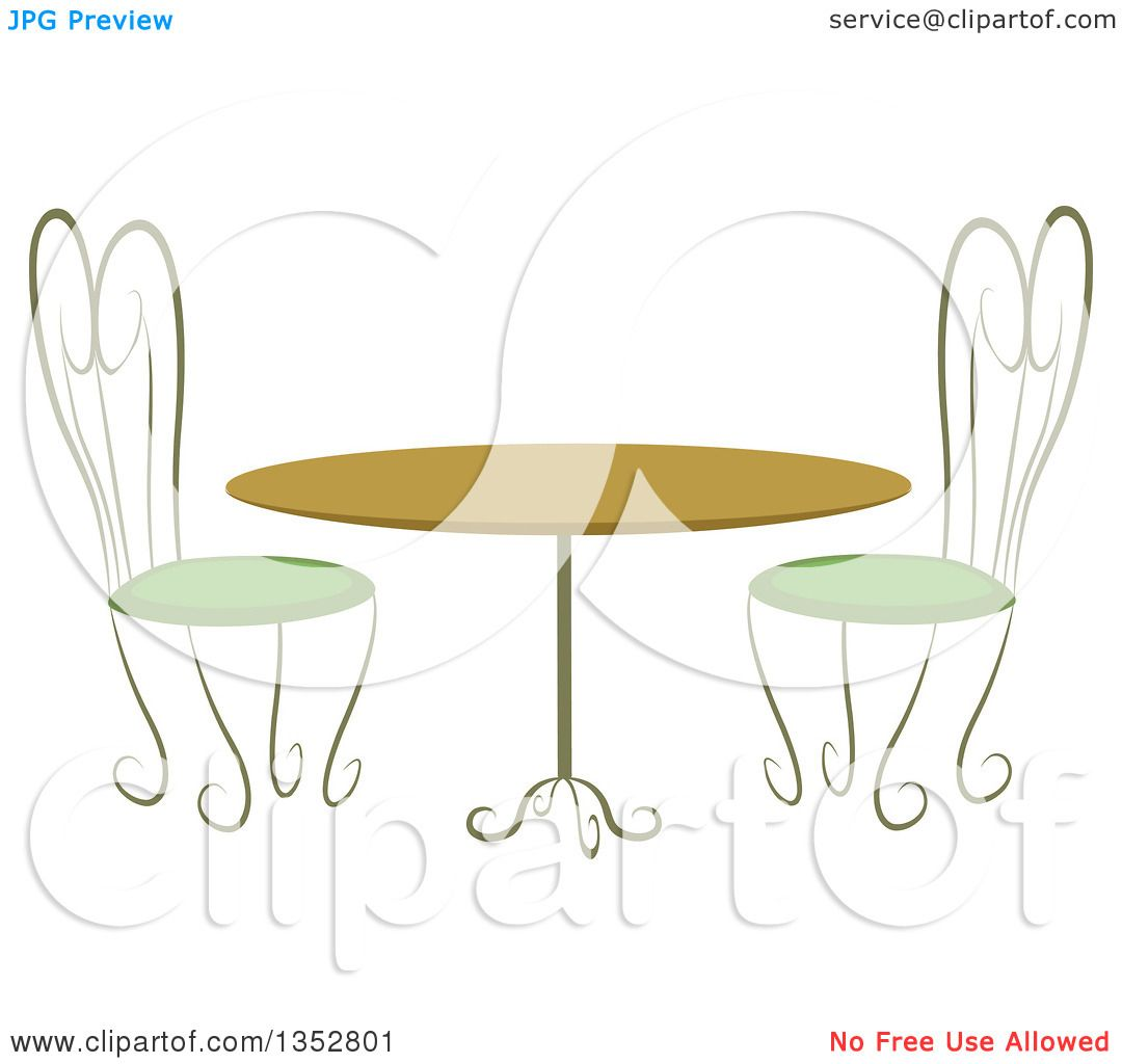 Clipart of a cafe table and chairs royalty free vector for Table design vector