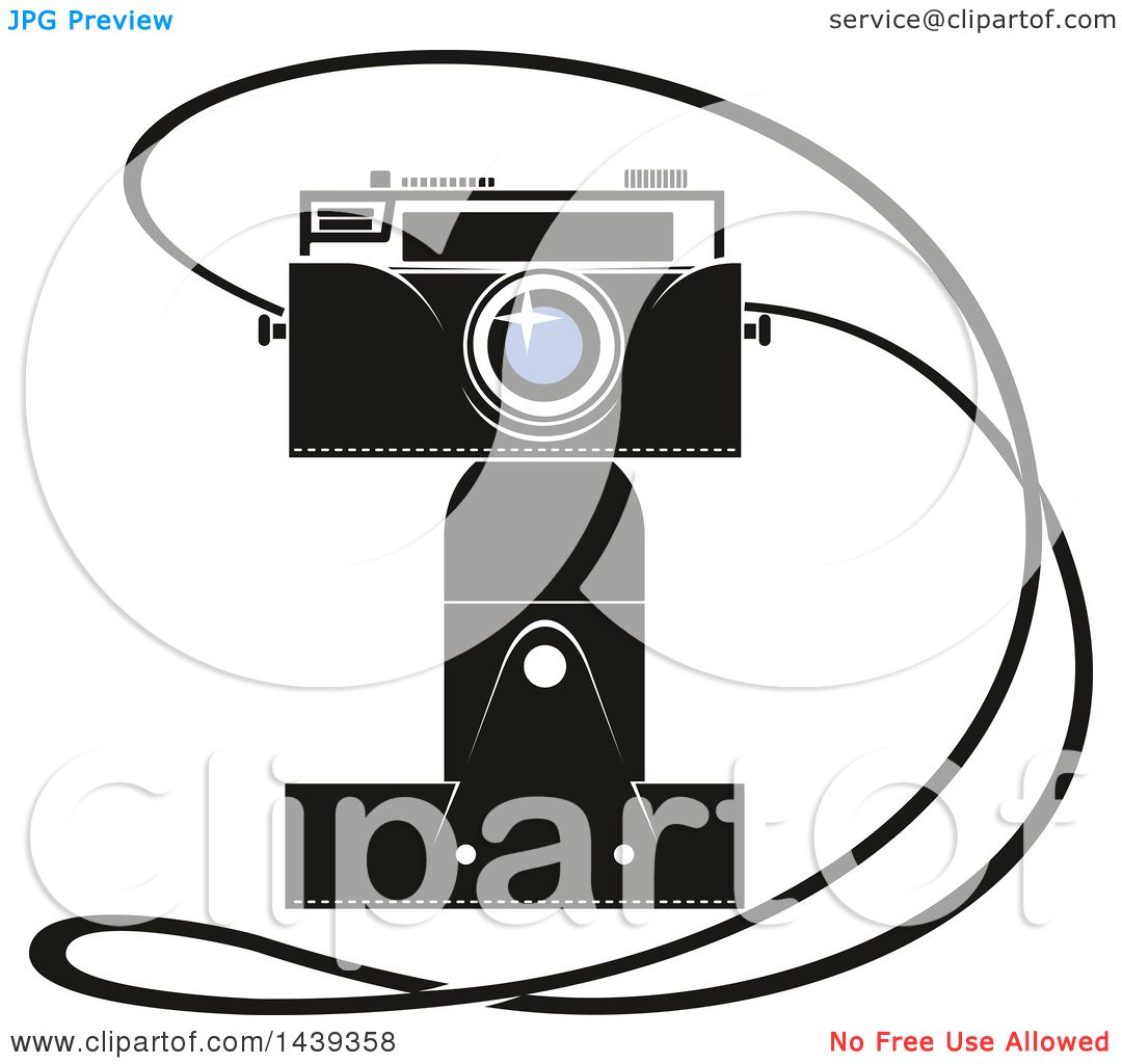 Clipart of a Camera and Strap - Royalty Free Vector ...