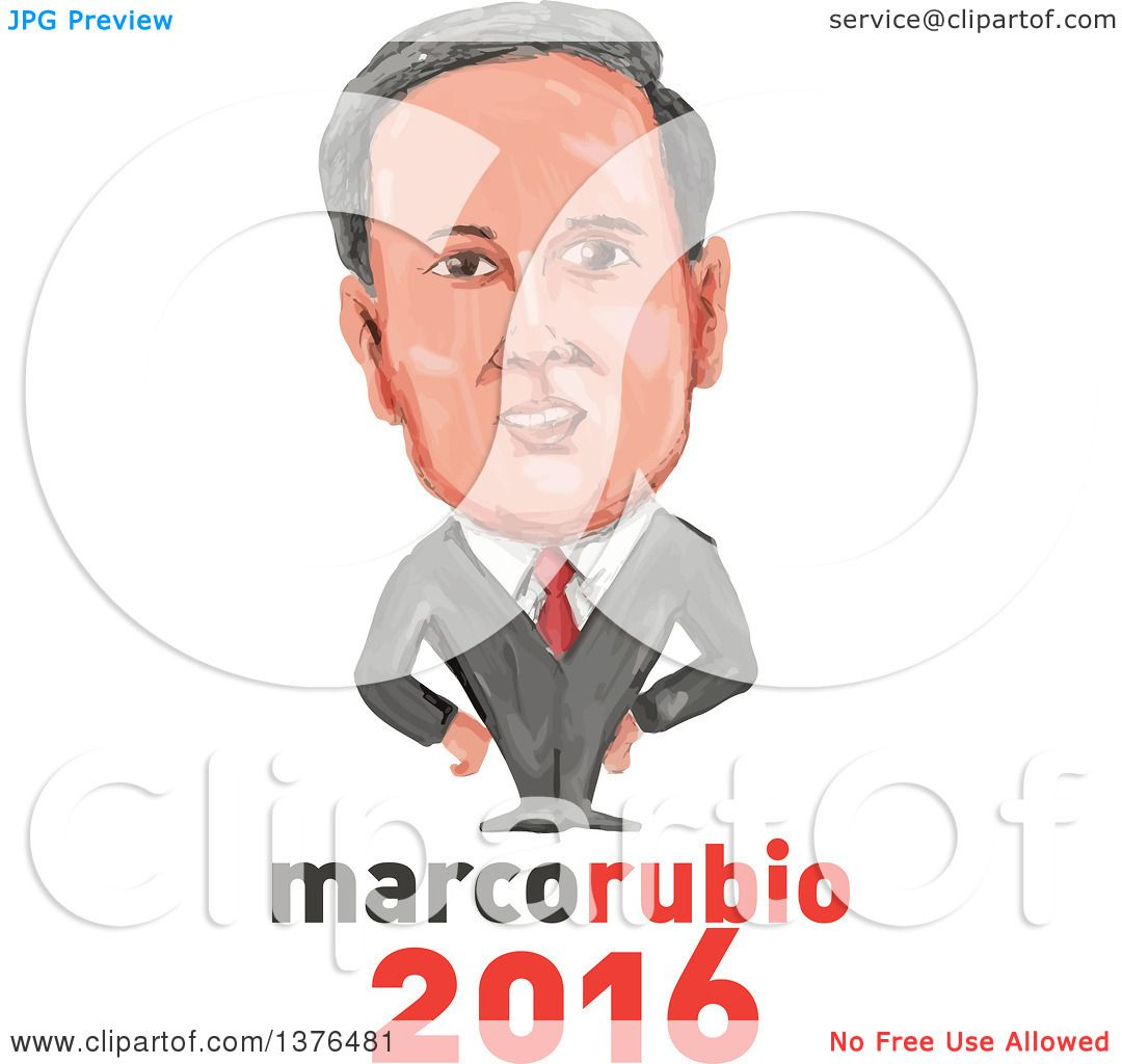 Clipart of a Caricature of Marco Rubio over Text - Royalty Free ...