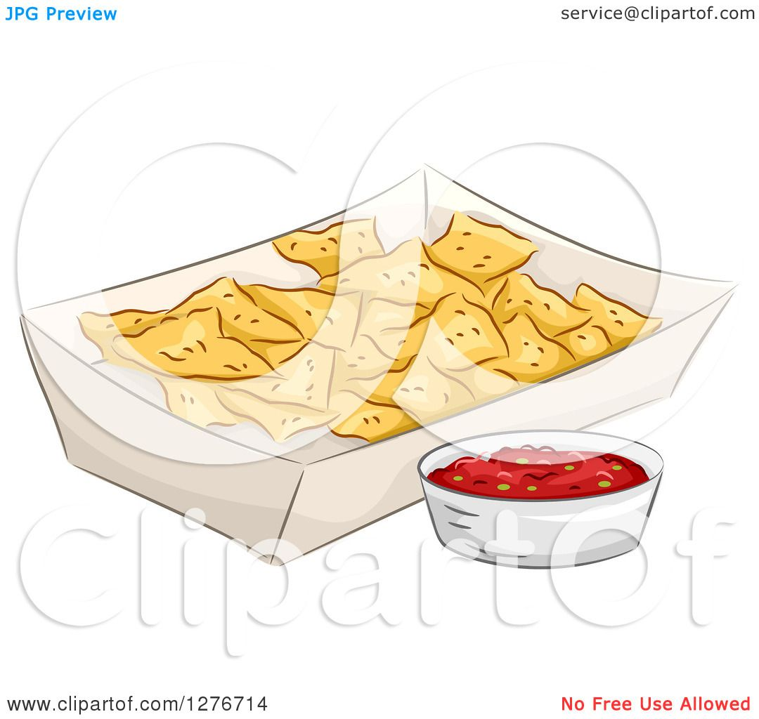 nachos coloring page - clipart of a carton of nacho tortilla chips with salsa