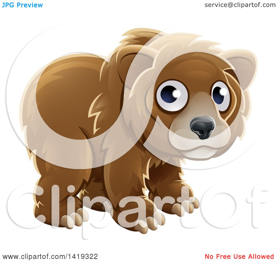 Clipart of a Cartoon Adorable Grizzly Bear Cub - Royalty Free Vector Illustration by ...