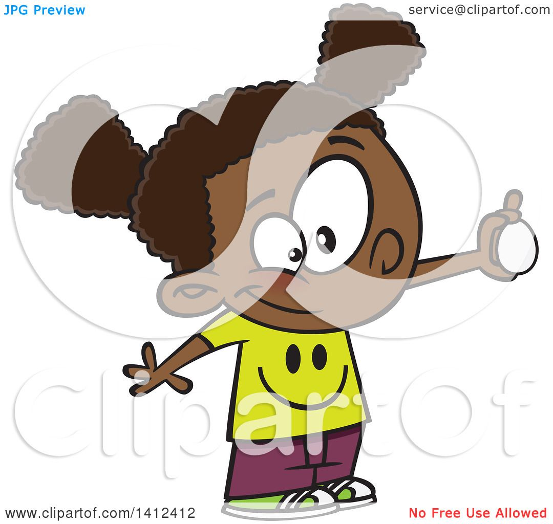 Clipart of a Cartoon African American School Girl ...