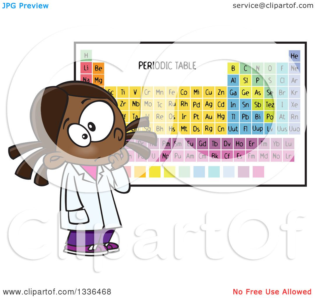 Clipart of a cartoon african american school girl studying the clipart of a cartoon african american school girl studying the periodic table of elements royalty free vector illustration by toonaday urtaz Image collections