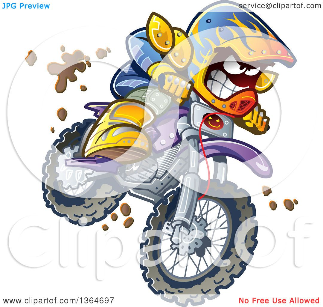 Clipart Of A Cartoon Aggressive Man Jumping And Riding A