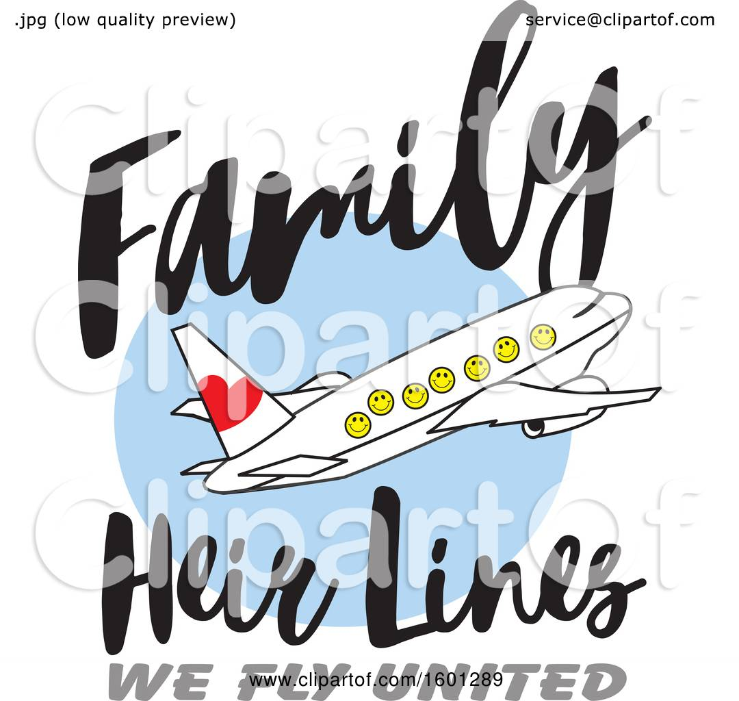Clipart Of A Cartoon Airplane With Happy Facesand Family Heir