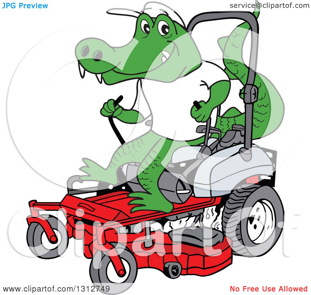 Clipart Of A Cartoon Alligator Operating A Red Riding Lawn Mower