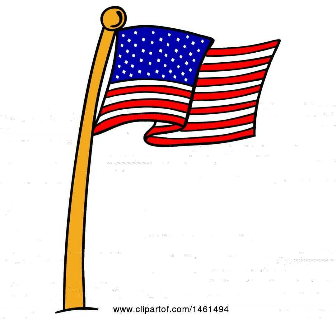 clipart of a cartoon american flag pole