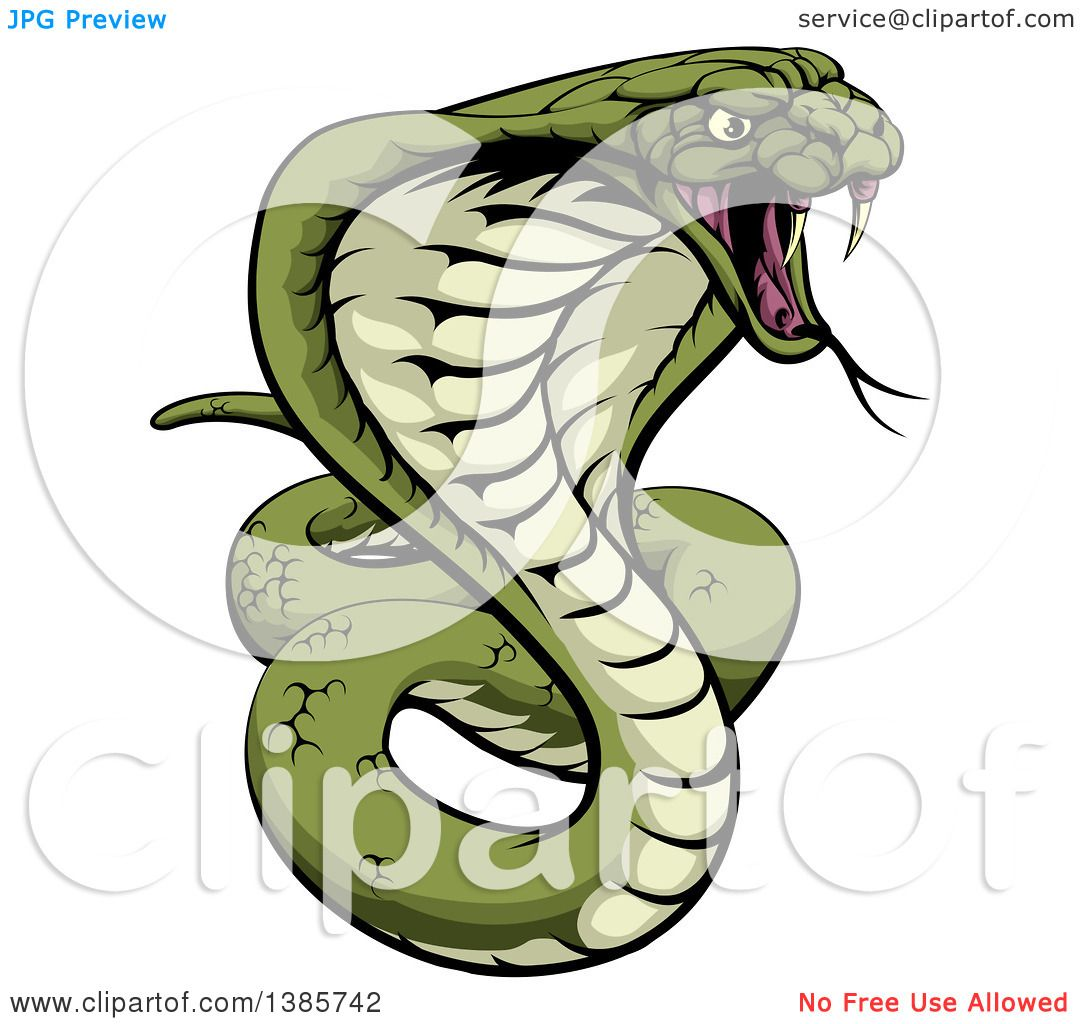 clipart of a cartoon angry green king cobra snake ready to strike