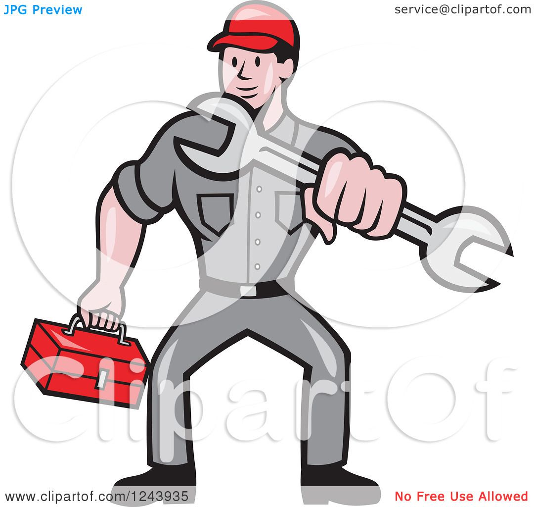 Clipart of a Cartoon Auto Mechanic Holding a Tool Box and Wrench ...