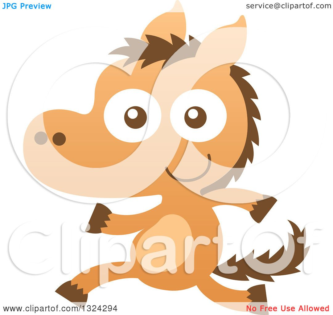 Clipart Of A Cartoon Baby Horse Running Upright Royalty Free Vector Illustration By Zooco 1324294