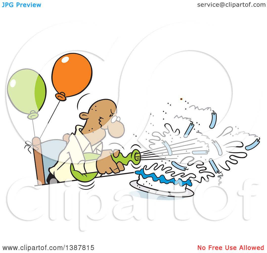 Clipart Of A Cartoon Bald Senior Black Man Blowing Out His