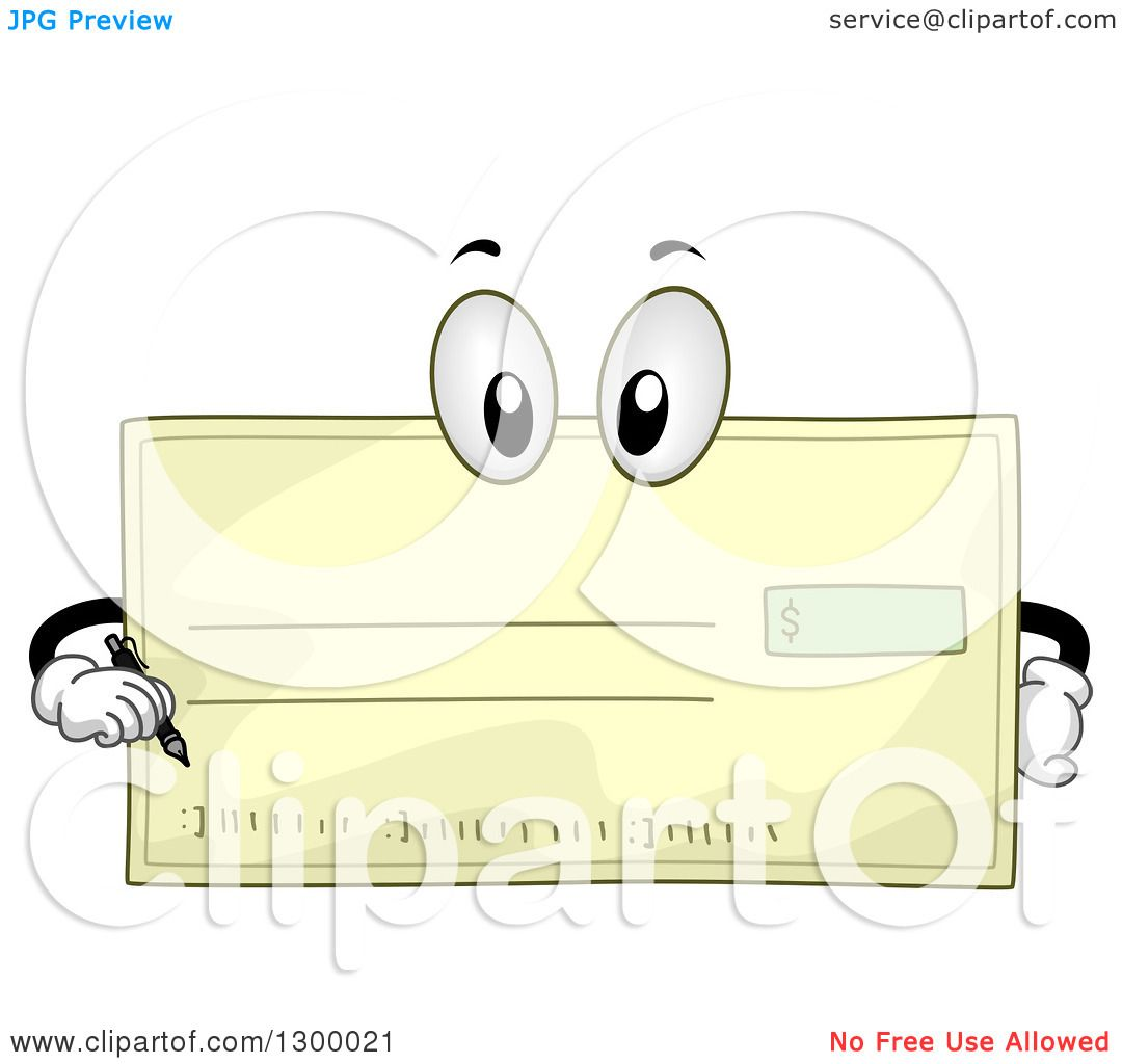 Clipart Of A Cartoon Bank Check Character Holding A Pen
