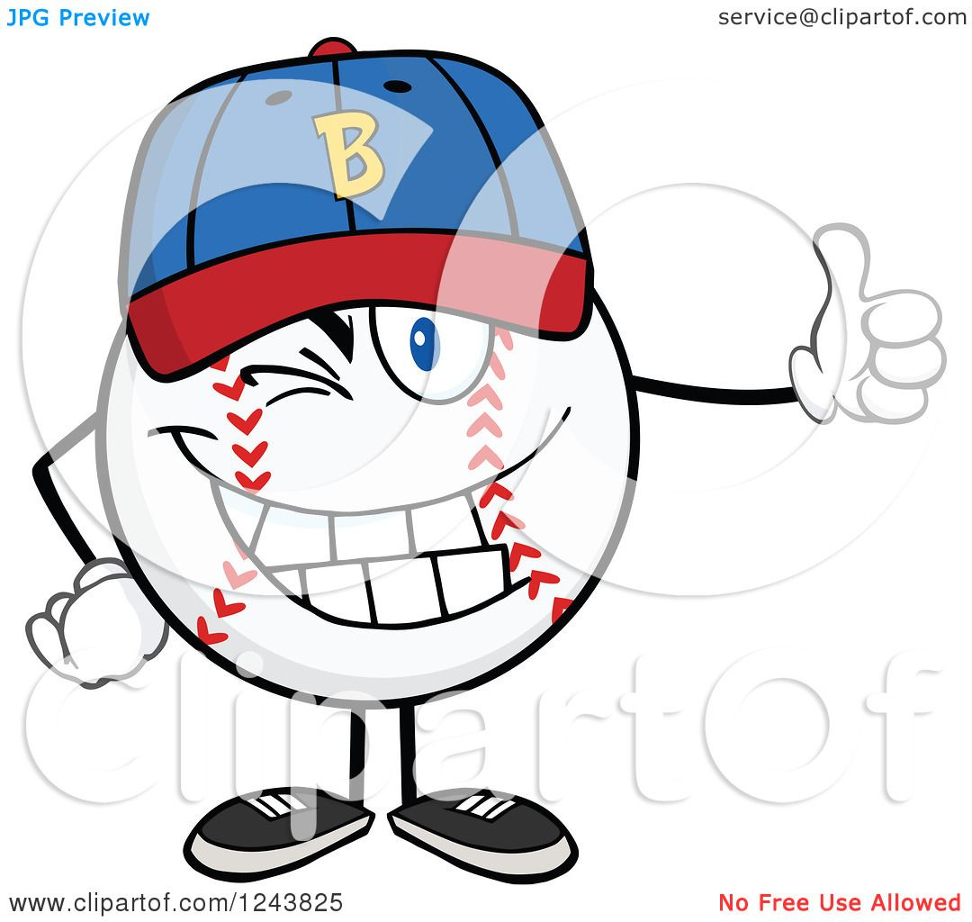 Clipart of a Cartoon Baseball Character Wearing a Hat, Giving a ...