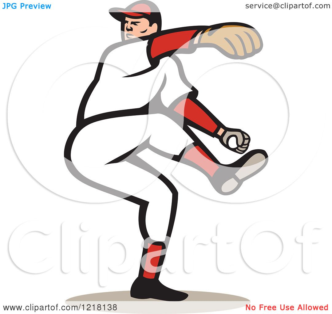 Clipart of a Cartoon Baseball Player Pitching - Royalty Free ...