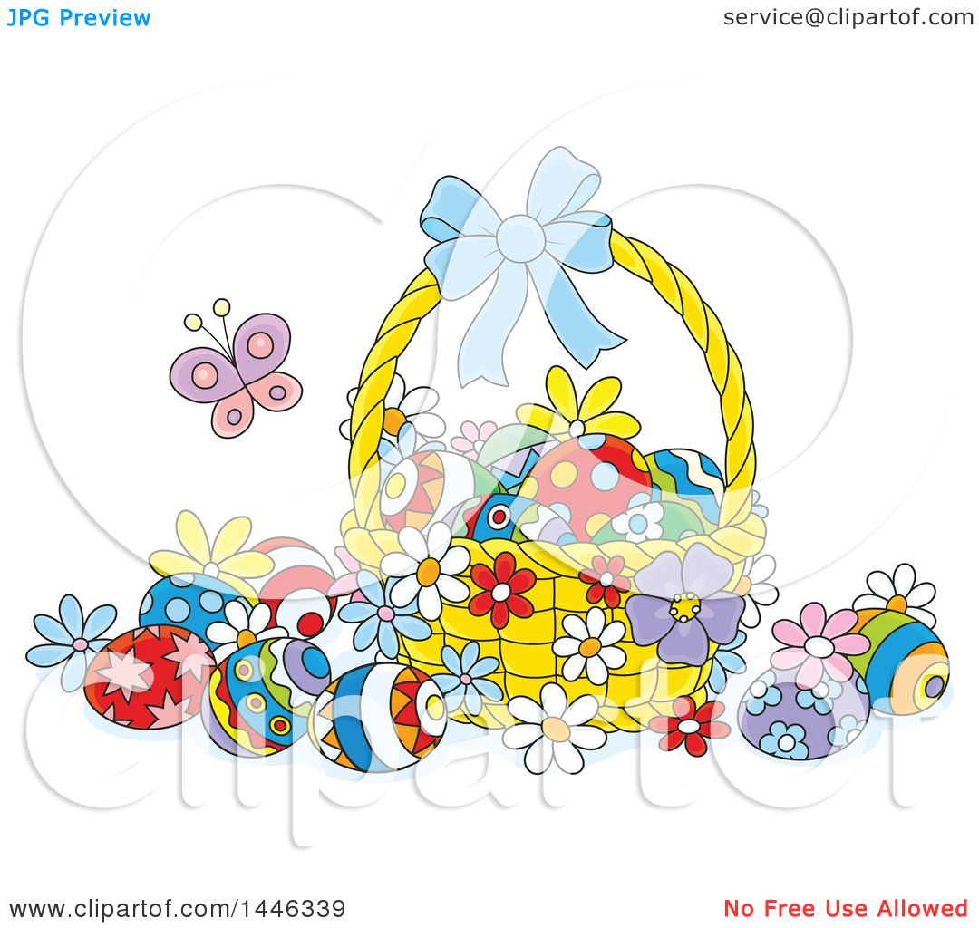clipart of a cartoon basket with colorfully decorated easter eggs