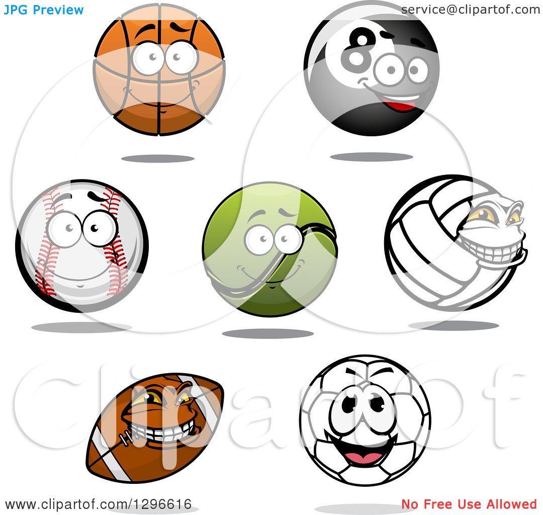 Clipart Of A Cartoon Basketball Eightball Baseball Tennis Ball Volleyball American Football And Soccer Ball Royalty Free Vector Illustration 10241296616