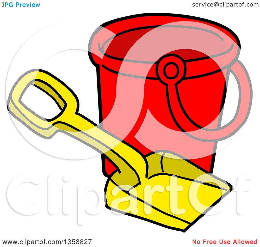 clipart of a cartoon beach bucket and shovel toy royalty free