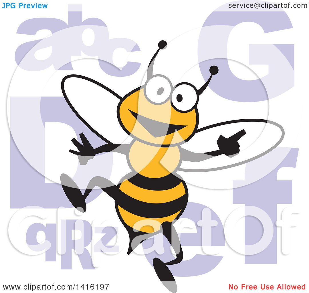clipart of a cartoon bee with alphabet letters for a spelling bee