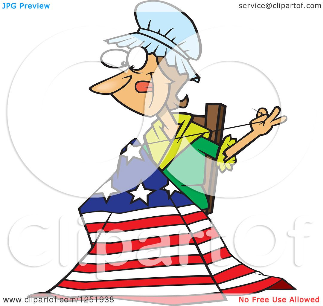 clipart of a cartoon betsy ross sewing the first american flag