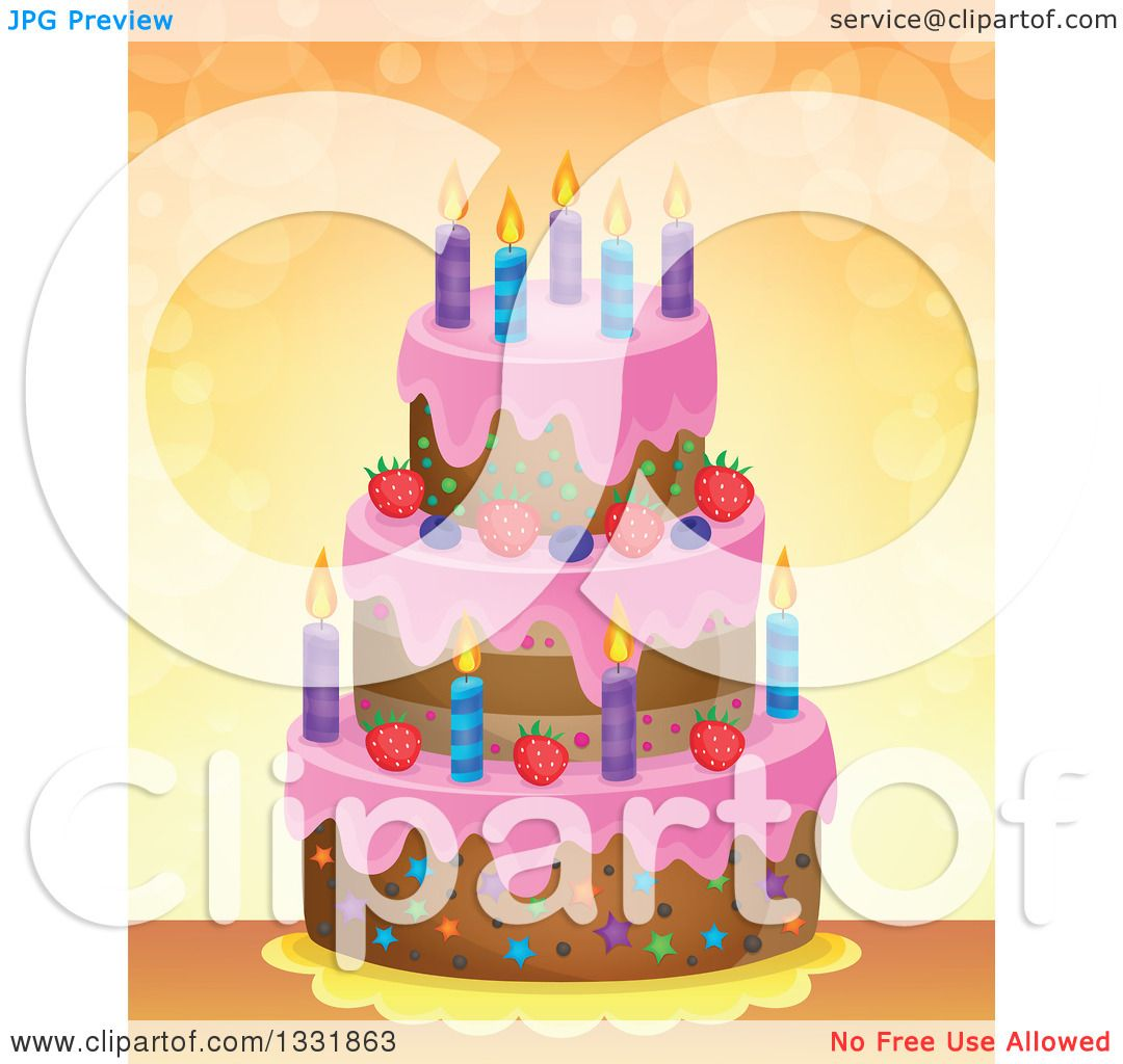 Clipart Of A Cartoon Birthday Cake Over Orange With Flares Royalty